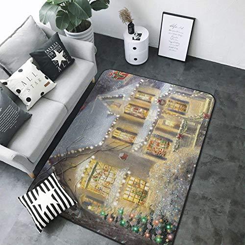Alfombra de tela moderna con estampado de Navidad, muy suave, para interiores, 200 x 58 pulgadas
