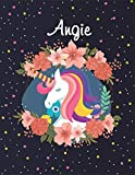 Angie: Unicorn Blank Lined Journal Notebook For Girls | Primary Story Journal , 8,5 x11 , 120 Pages Cute Unicorn Notebooks | Grades K-2 Composition School Exercise Book