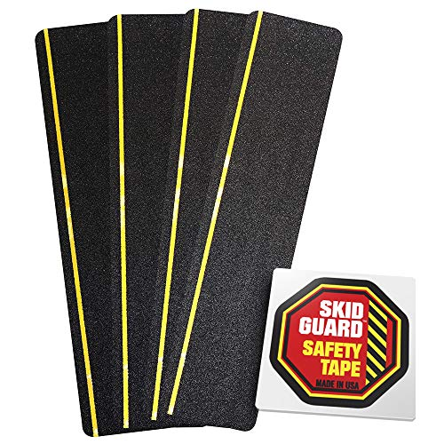 "Anti Slip Stair Tread Strips 6"" x 24"" (4-Pack) Skid Guard No More Slipping Non-Slip Step Tape with 1/4"" Yellow Reflective Stripe 4 Pre-Cut Strips for Stairs and More"