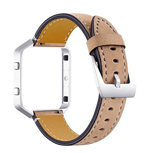 Correa de cuero para Fitbit Blaze, correa de reloj de piel auténtica, accesorios de pulsera suave con hebilla de metal y marco ajustable de 5.5 a 8.0 pulgadas, compatible con Fitbit Blaze – café
