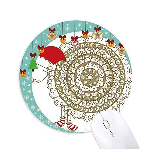 Cartoon Sheep Christmas Hat Socken Maus Pad Jingling Bell Round Rubber Mat
