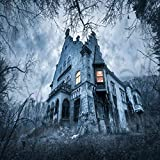 Uoopati Haunted Building DIY 5D Diamond Painting by Number Kit, Haunted Abandoned House Mansion Horror Spooky Castle Gothic Diamond Embroidery Paintings Cross Stitch for Home Decor, 16x16 Inch