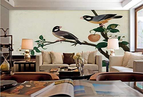 Wandmalerei3d wallpaper fototapete benutzerdefinierte größe wand wohnzimmer apfelbaum vogel 3d malerei sofa tv hintergrundbild für wand 3d Poster 1 ㎡ (1 Quadratmeter)
