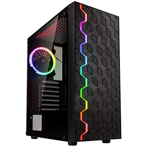 KOLINK Inspire K8 ARGB Midi-Tower, Tempered Glass Computergehäuse, PC Hülle, PC Gehäuse RGB Glas, Gaming PC Case, Computer Gehäuse, PC Tower Gehäuse, Schwarz