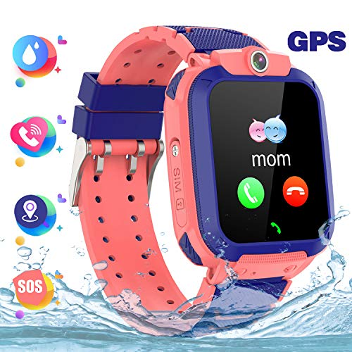 Kindersmartwatch waterdicht, GPS tracker touchscreen Kid Smart Watch Phone voor jongens en meisjes met SOS Game-camera telefoon Voice Chat, GPS-S12-Roze