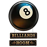 Open Road Brands Billiards Room Linked Embossed Metal Wall Art Sign - Great Addition to Add What You Love to Your Home/Garage Decor