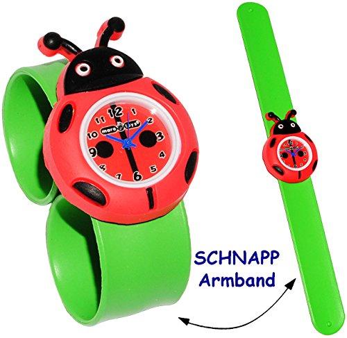 alles-meine.de GmbH 3-D Effekt - Kinderuhr / Armbanduhr -  lustiger Marienkäfer / Glückskäfer  - mit Silikon Schnapp Armband - Uhr für Kinder & Erwachsene / für Jungen & Mädche..