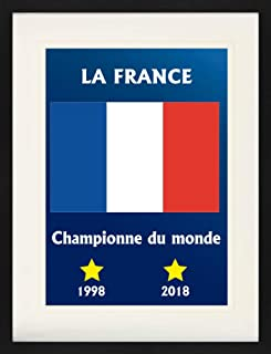 1art1 Football Framed Collector Poster - France World Cup Champion 1998 2018 (31 x 24 inches)