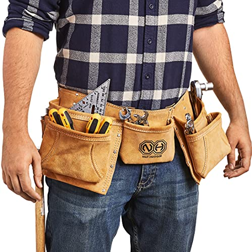 Nut Hugger 12-Pocket Suede Leather Tool Belt and Work Apron - 2 Hammer Loops and Adjustable Waist Belt - Supports Rugged Construction and Jobsite Projects
