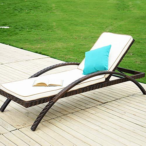 POL Cama de ratán Cama de Playa Plegable Cama de ratán terraza Tumbona Ocio al Aire Libre Cama de sofá de ratán Patio al Aire Libre balcón balcón sillón A 2