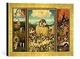 Kunst für Alle '–Fotografía enmarcada de Hieronymus Bosch Total, Abierto: Tríptico, el Carro de heno, de impresión handgefertigten imágenes de Marco, 40x 30cm, Oro Raya