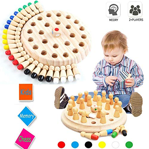 Wooden Memory Match Stick Chess Game MoDuer Color Memory Chess Funny Block Board GameMemory Match Stick Chess GameParentChild Interaction Toy Brain Teaser for Boys and Girls Age 3 and Up