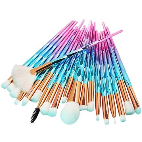 Solike 20 Stück Make-up Pinsel zum professionellen Auftragen von Lidschatten Eyeliner Einhorn Pinsel Schminkpinsel Kosmetikpinsel Lidschatten Gesichtspinsel Foundation Eyeliner Pinsel (B)