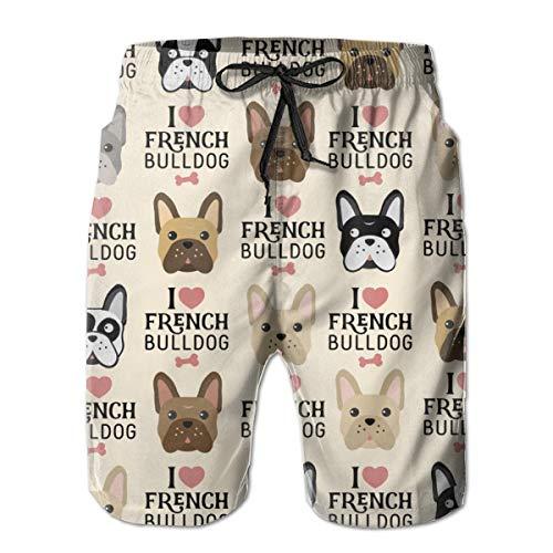 I Love French Bulldog Men's Shorts Beach Pants Pajama Sleep Pants Jogger Swim Trunks White