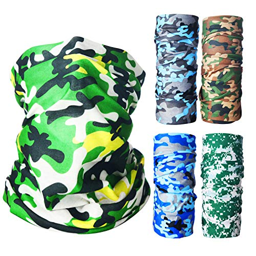 5PACK Neck Gaiter Camo Face Mask,Washable Bandana Mask Headwear Scarf Camouflage Face Cover for Men Women