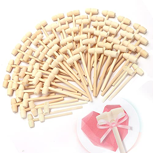 75x Mini Wooden Hammer for Chocolate Heart, Wooden Mallet for Breakable Heart Hammer, Small Hammer for Breakable Heart, Mini Martillos de Madera Para Chocolate, Little Wood Hammer for Chocolate Heart