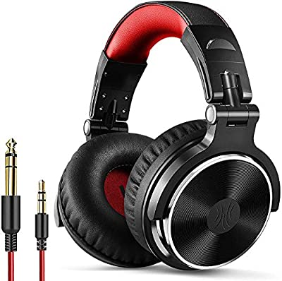 OneOdio Wired Over Ear Headphones Hi-Fi Sound & Bass Boosted headphone with 50mm Neodymium Drivers and 1/4 to 3.5mm Audio Jack for Studio DJ AMP Recording Monitoring Phones Laptop (Red) from Oneodio