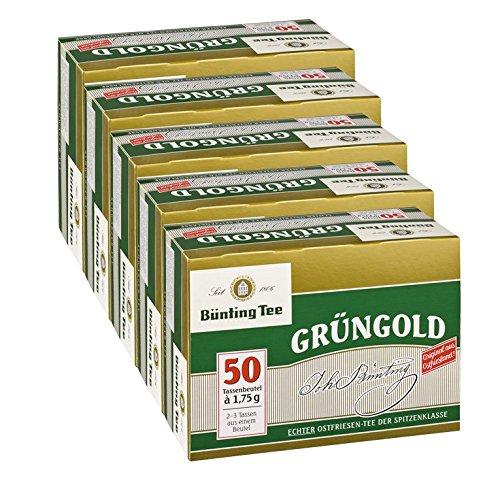 Bünting Tee Grüngold, 50 Tassenbeutel 5er Pack