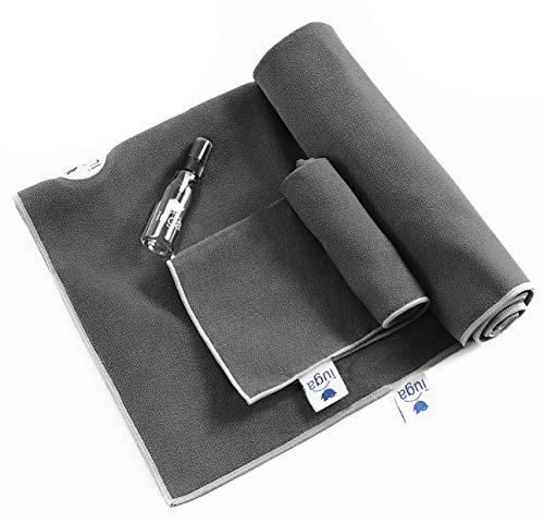 IUGA Yoga Towel Extra Thick Hot Yoga Towel + Hand Towel 2 in 1 Set, Corner...