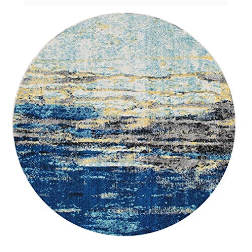 LMXJB Teppich Vintage Blau Overdyed Distressed Teppich Johns Collection Area Teppiche Teppich Multi 6 'X 6' Ft Modernes Abstraktes Bright Tones Design - Wohnzimmer Teppiche,Waves,Diameter3m/9'8