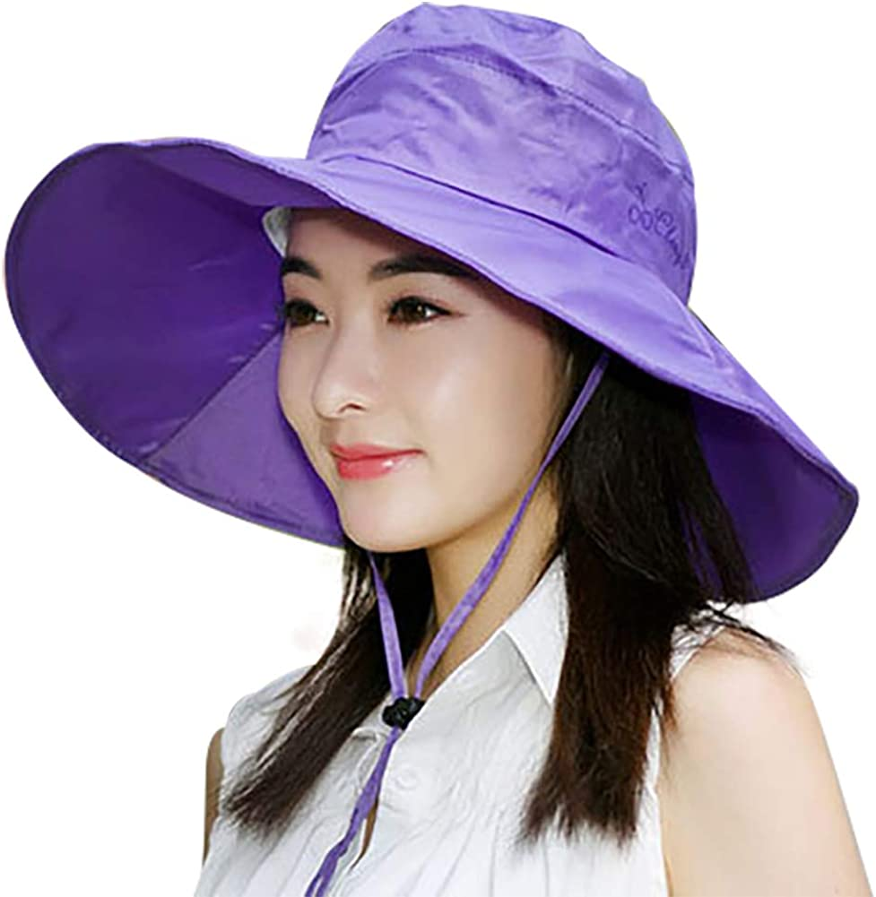 Packable Waterproof Women/'s Rain Hat Outdoor Sun Protection Rain Cap Wide Brim Bucket Hat Satin-Lined