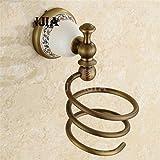 D&D-Bathroom Accessories Accesorios de Baño Set/montado en Pared/Unión Cobre Antiguo cerámica baño Vintage Conjunto Colgante de Porcelana Azul y Blanco de Toallas,Bastidor de soplador