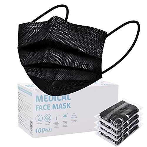 SOYES Einwegmasken, 100 Stück TYP IIR 3 lagig Mund Nasen Schutzmaske, Masken Mundschutz, Maske Schutzmaske CE Zertifiziert,Einweg-Gesichtsmaske Universaldesign für Erwachsene, Schwarz