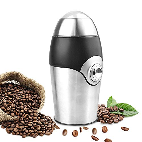 HoLead 1 Electric Coffee Grinder Blade Mill, 8 Cups, 200W Stainless Steel Powder Grinding Machine for Nuts Herbs,Grains, Spices, Sugar, G001, Silver