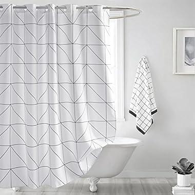 Fabric Shower Curtain, Seavish White Geometric Mildew Resistant Waterproof 72 x 72 inches Bathroom Shower Curtain Set with Hooks (White Geometric)