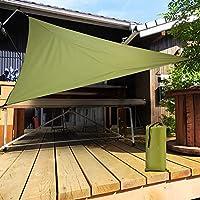 オーニングシェード UVカット率95%防水ポータブルな日除けテント ガーデン/テラス/スイミングプール/カーポートなどのアウトドア用遮光ネット 三角形オックスフォードクロス生地 換気・良い風通し 環境にやさしい 長い使用寿命(収納バッグ付き 緑) (4*4M)