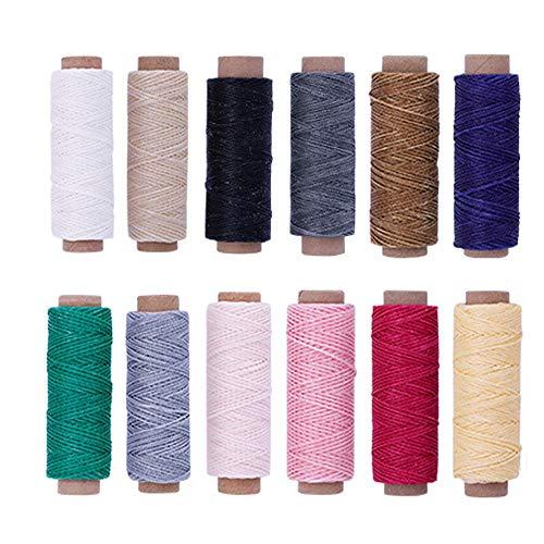 Ritte 12 Stück Leder Wachsfaden Cord, 12 Farben Leder Wachsfaden, 12 Farben 392 Yards 150D Leder Wachsfaden Cord für Lederhandwerk, DIY Sewing Craft