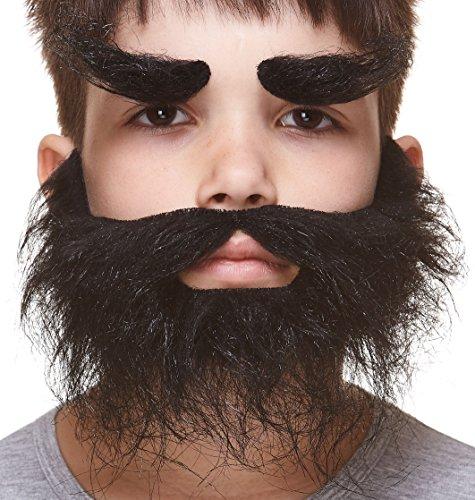Mustaches Auto-Adhésives, Nouveauté, Léger, Réaliste Traper Fausse Barbe, Fausse Moustache et Fausse Les Sourcils, Noire Couleur