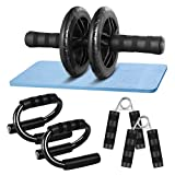 CLISPEED AB Wheel Roller Bauchtrainer Kit mit Push Up Bar Handgreifer Knieschoner für Abs Fitness...