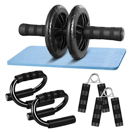 CLISPEED AB Wheel Roller Bauchtrainer Kit mit Push Up Bar Handgreifer Knieschoner für Abs Fitness Workout