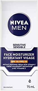 NIVEA MEN Sensitive Skin Face Moisturizer with SPF 15 (75mL), Mens Face Moisturizer, Non-Greasy and Alcohol Free Face Loti...