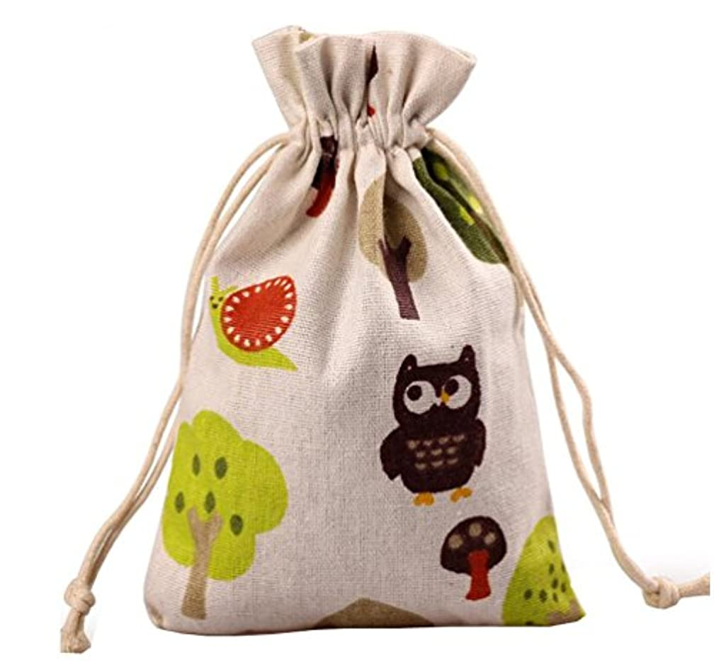 Meta-U Burlap Bags With Drawstring- Storage Bag- Sachets Bag- Gift Pouch For Party | Wedding-12pcs (1723cm(6.89.2), tree and mushroom)