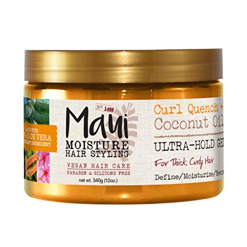 Curl Quench + Coconut Oil Ultra-Hold Gel, for Curly Hair Styling, Vegan, No Drying Alcohols, Paraben Free, Silicone Free