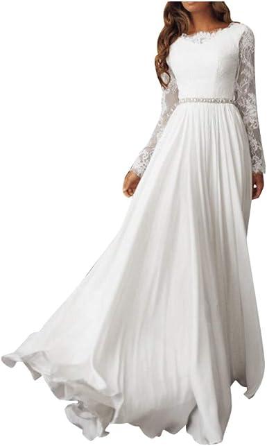 TOPKEAL Elegante Vestido Blanco de Manga Larga Hueco de ...