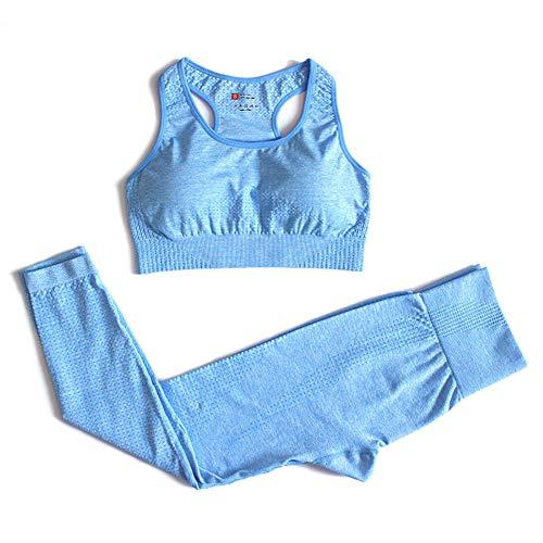 XIAMIMI Langarm Yoga Set Frauen Sportbekleidung Vital Nahtlose Crop Top + Fitness Leggings Anzug Weibliche Lauf Trainings-Kleidung,Blau,S