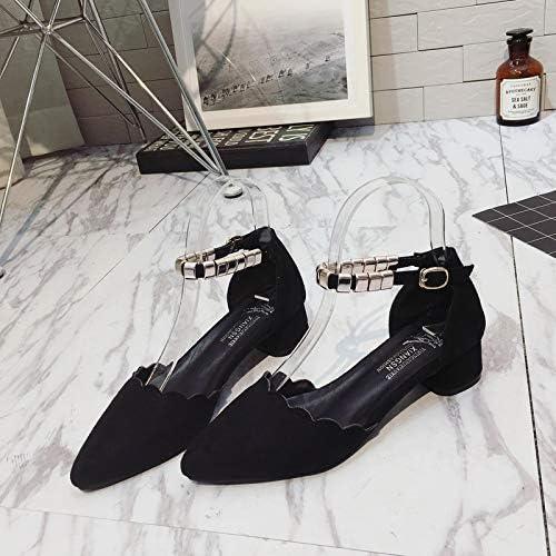 Uhrtimee Pointu HolFaible Sandals Femme 2019 Eté Nouvelle Version Coréenne De La Bouche Peu Profonde Baotou épaisse avec Un Soulier Simple TemperaHommest Was Thin, 36, Noir
