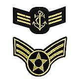 2 parches de galones dorados con 3 estacas, escudo militar militar, parches termoadhesivos de grado Sergent para personalizar ropa y accesorios, 8,5 x 4,3 cm y 8,3 x 5,7 cm.