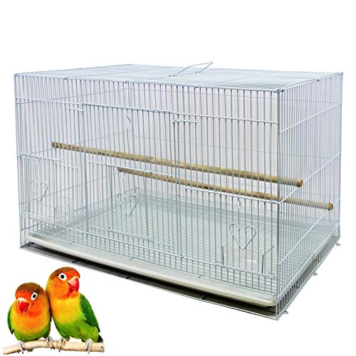 BPS Jaula Loro Metal para Pájaros Pajarera Periquito Canarios Jaula Grande con Comedero Bebedero Saltador 60x42x41cm Blanco BPS-1260
