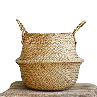 "Natural Seagrass Belly Basket with Handles, Large Storage Laundry Basket (12.6"" Diameter x 11  Height, Natural)"