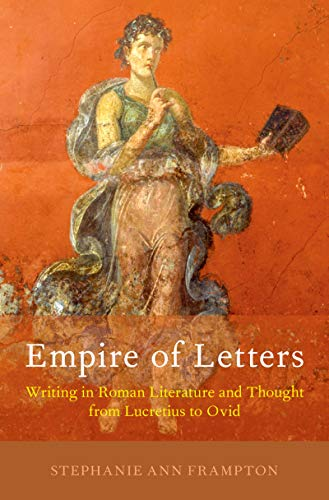 Book cover - white and yellow title on orange background with painting of a Roman woman holding a book and stylus