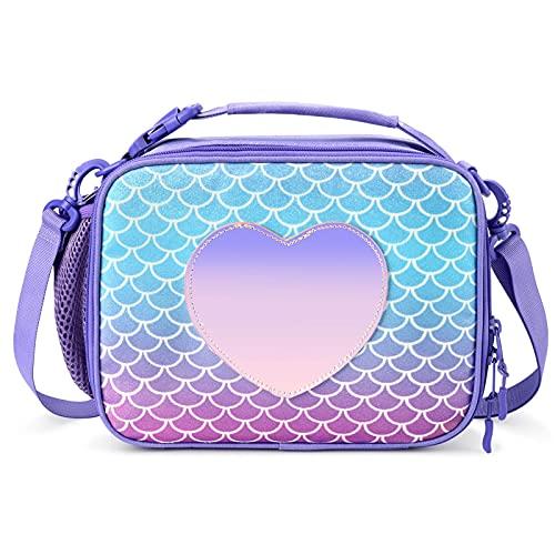 mibasies Kids Insulated Lunch Box for Girls Rainbow Mermaid Bag (Mermaid Purple)