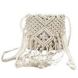 SYUN Fringe Tassel Crossbody bandolera tejida a mano Boho Beach Travel bolso para mujer, blanco
