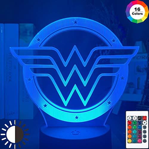 Marvel Superhero Wonder Woman Logo Christmas Night Light 3D LED Lámpara de mesa niños regalo de cumpleaños decoración de la habitación junto a la cama