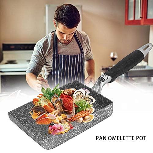 Poêle à frire, Poêle à frire en pierre Maifan, style japonais, poêle universelle antiadhésive, poêle carrée universelle pour les légumes, œufs, steak, barbecue en côtelette de porc, 13 × 18cm
