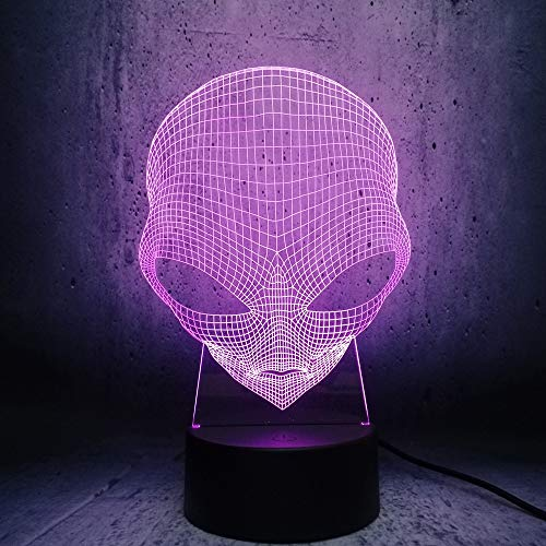 Alien Hoofd 3D-Lamp Led-Verlichting Illusie Coole Jongen Slaapkamer Decoratie Tafel Nachtlampje Kinderen Cadeau Lava Display Tiener Kamer Decoratie