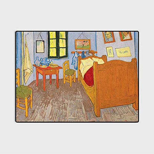 Art Throw Rugs Bath Rugs Bath Rugs for Bathroom Painting Style Room Interior with Bed Hanged Pictures Table and Chairs Near The Window for Wife Multicolor 4 x 5.3 Ft